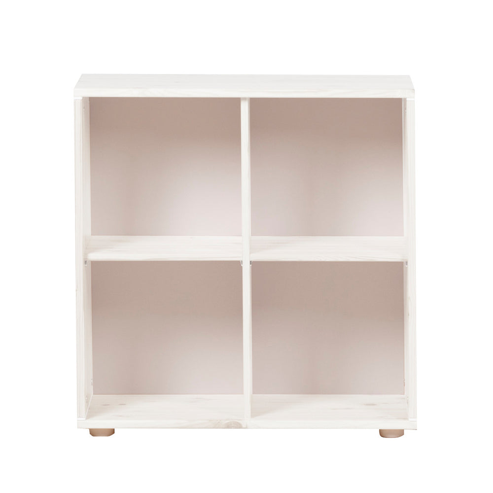 Classic - Bookcase with 4 compartments - Whitewashed White - Kids Furniture | Flexa USA