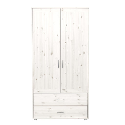 Classic - Wardrobe with 2 doors and 2 drawers - Whitewashed / White
