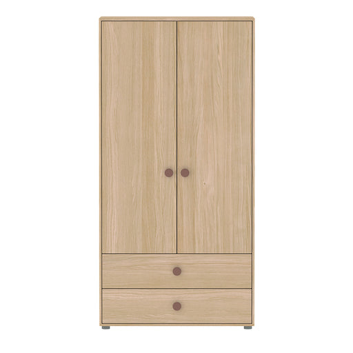 Popsicle - High wardrobe with 2 doors, 2 drawers, 4 shelves and 1 hanger - Oak/Cherry