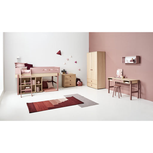 Popsicle - Mid-high bed with straight ladder - Oak/Cherry - Kids Furniture | Flexa USA