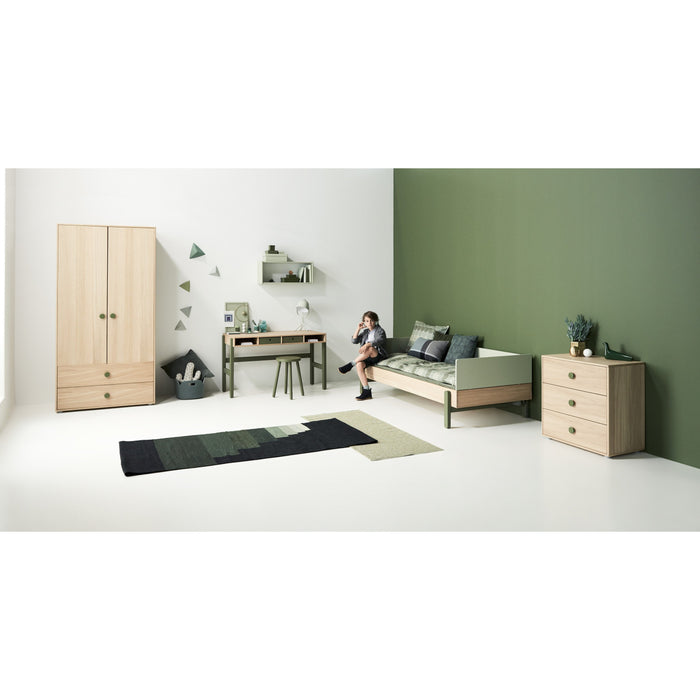 US TWIN - Popsicle - Single bed with low head-board, low end rail and safety rail - Oak/Blueberry