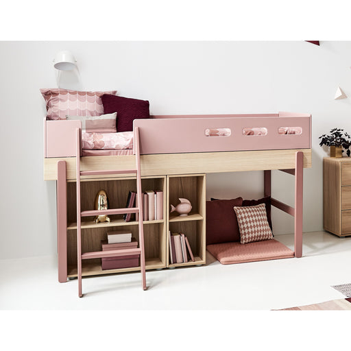 Popsicle - Mid-high bed with slanting ladder - Oak/Cherry - Kids Furniture | Flexa USA