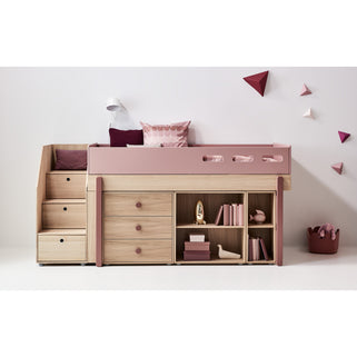Popsicle - Mid-high bed with staircase - Oak/Kiwi