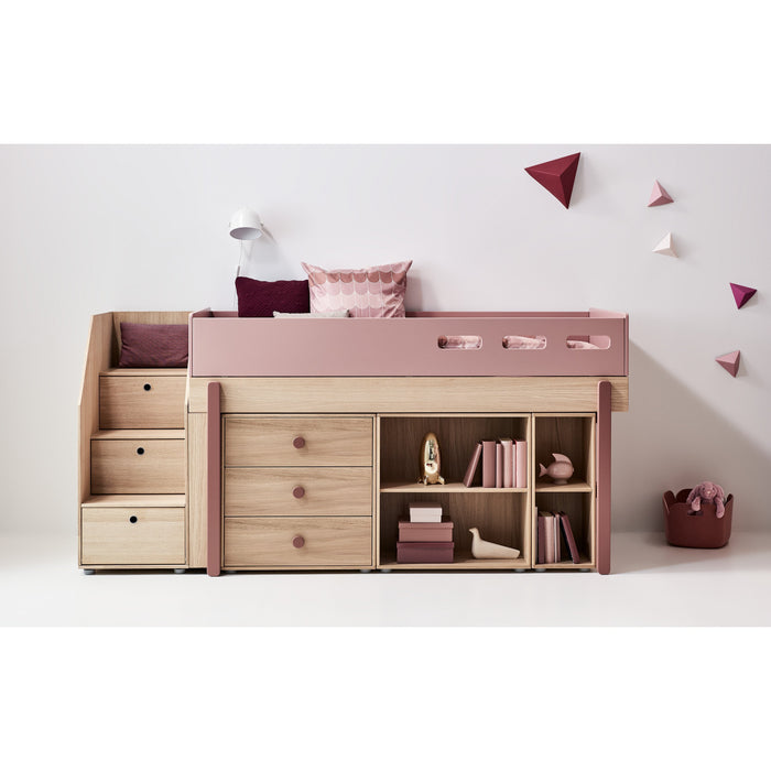 Popsicle - Mid-high bed with staircase - Oak/Kiwi - Kids Furniture | Flexa USA
