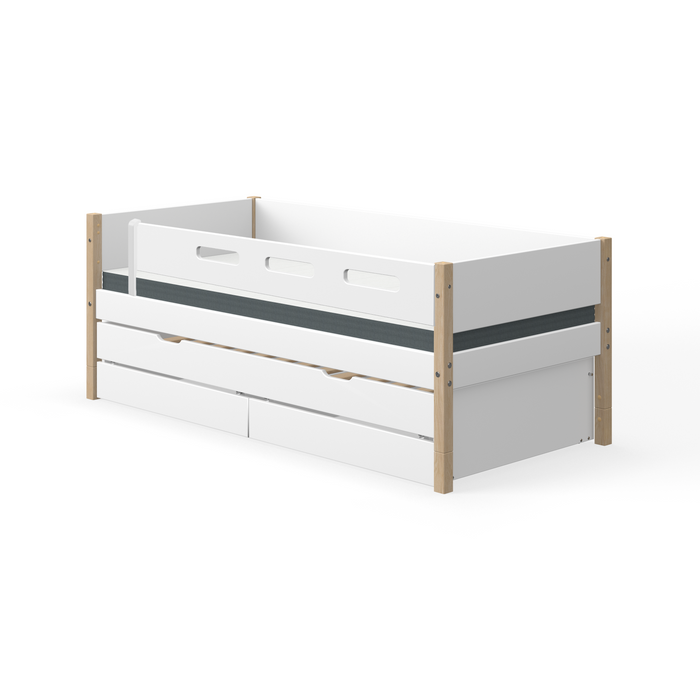 Nor - Daybed with 3/4 Safety Rail, Drawers and Guest Bed - Oak/White