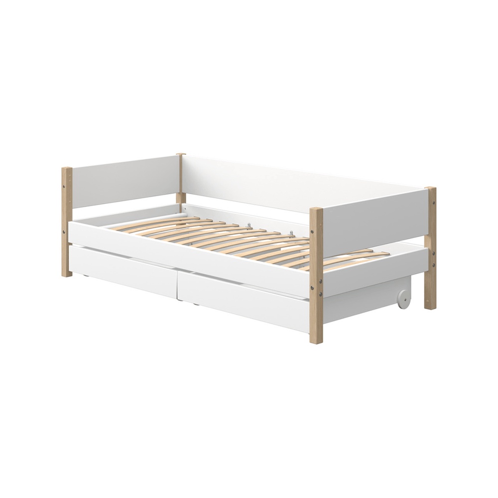 Nor - Daybed with Drawers- Oak/White - Kids Furniture | Flexa USA