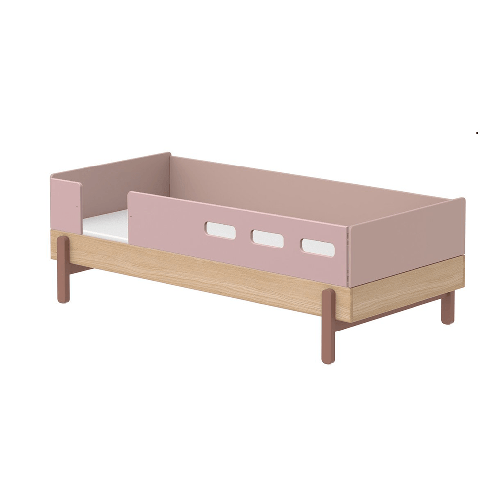 Popsicle - Day Bed, single size with 3/4 Safety Rail - Oak/Cherry - Kids Furniture | Flexa USA
