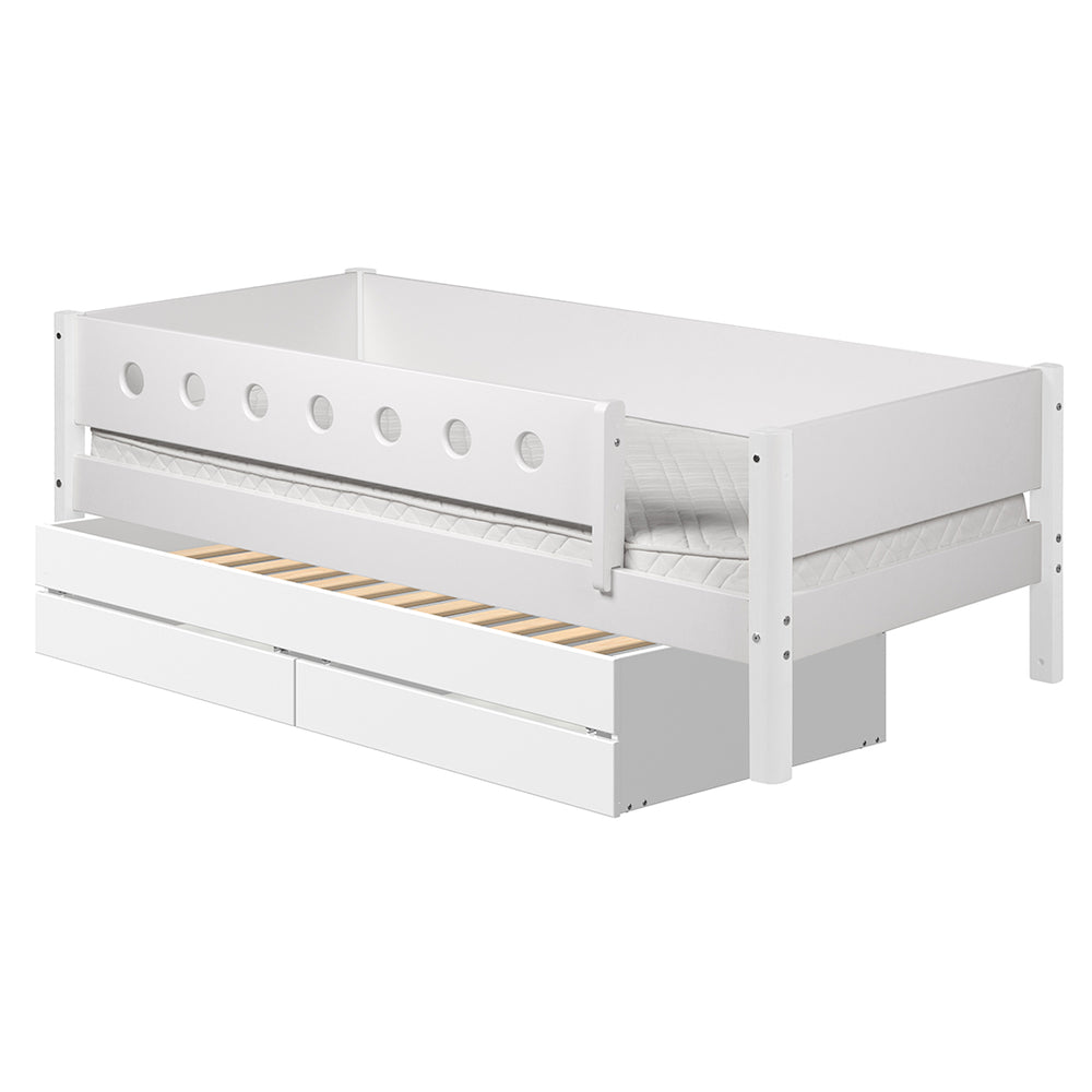 White - Daybed with 3/4 Safety Rail, Two Drawers and Guest Bed - White