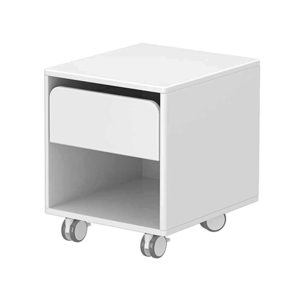 Cabby - Chest with 1 drawer with wheels - White - Kids Furniture | Flexa USA