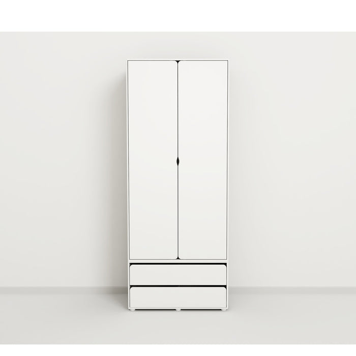 Cabby - Wardrobe with 2 doors, extra high (extra shelves) - White - Kids Furniture | Flexa USA
