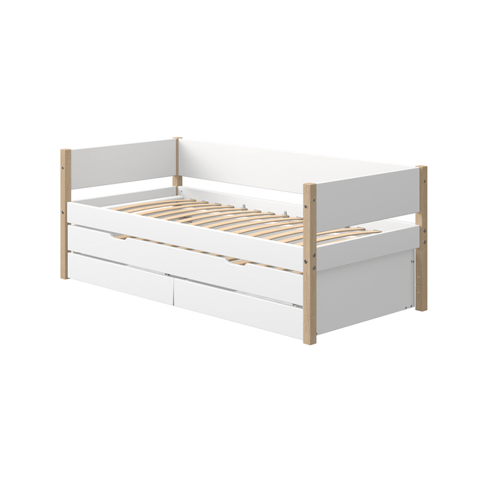Nor - Daybed with Pull-out Guest Bed and 2 Drawers - Oak/White - Kids Furniture | Flexa USA
