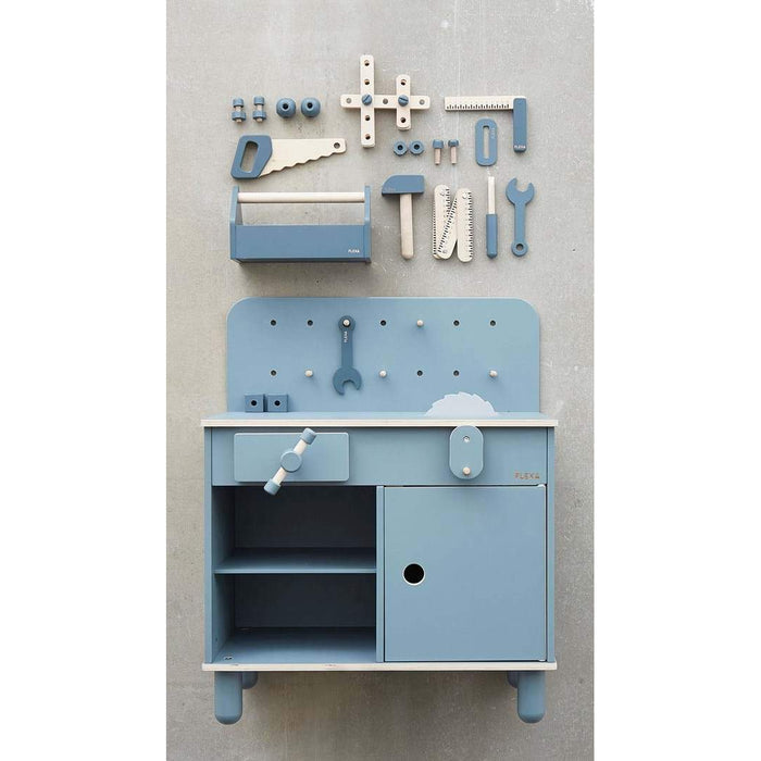PLAY - Construction Set - Dark Blue/Natural Wood - Kids Furniture | Flexa USA