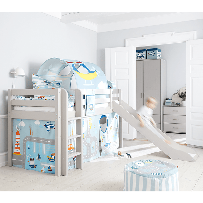 Classic - Mid-high bed with slide and slanting ladder - Grey Washed - Kids Furniture | Flexa USA