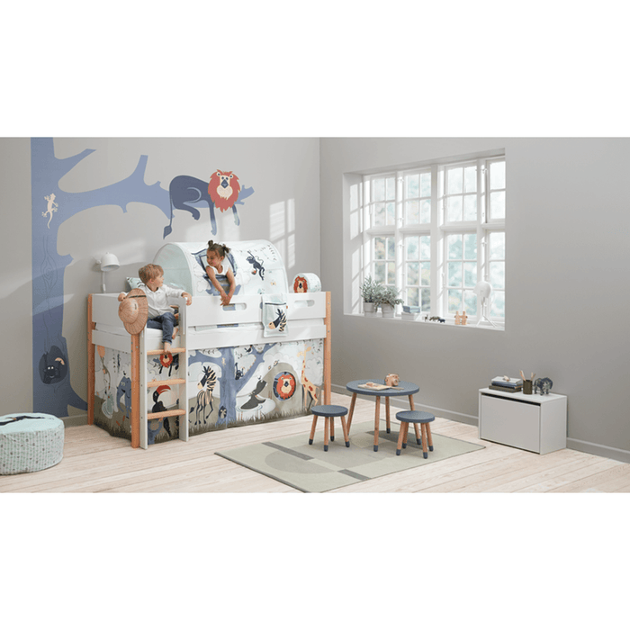 Nor - High Bed with Straight Ladder - Oak/White - Kids Furniture | Flexa USA