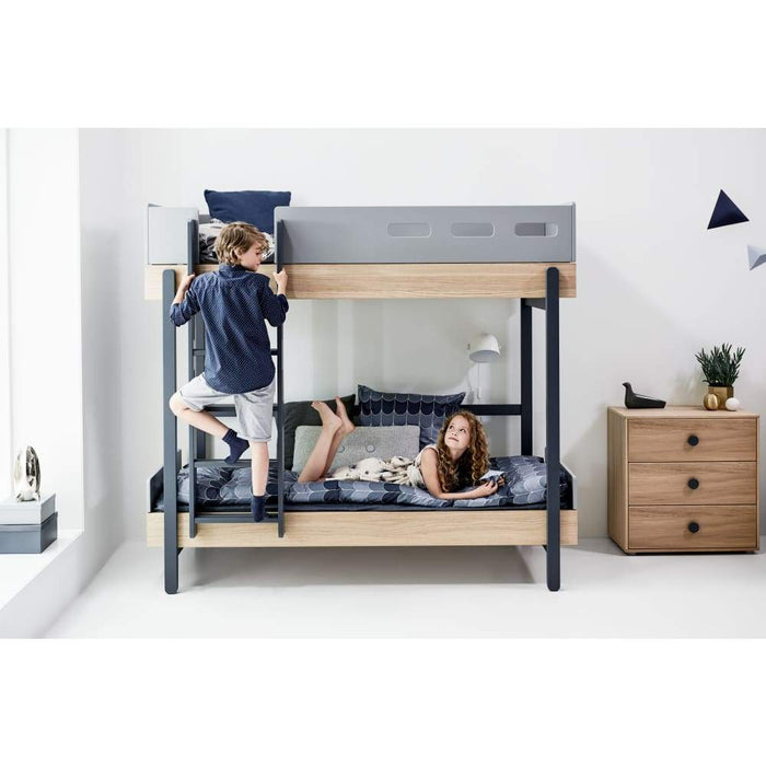 Popsicle - Bunk bed with Underbed drawer - Oak/Blueberry - Kids Furniture | Flexa USA