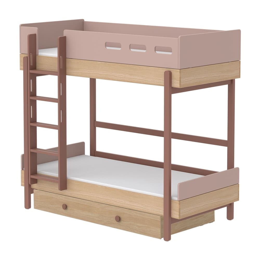 Popsicle - Bunk bed with Underbed drawer - Oak/Cherry - Kids Furniture | Flexa USA