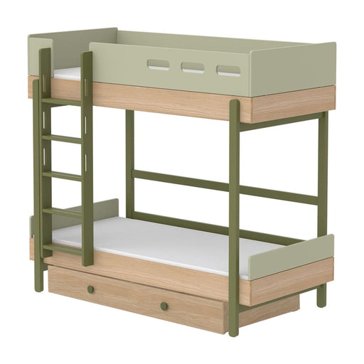 Popsicle - Bunk bed - Oak/Kiwi with Underbed drawer - Bunk bed