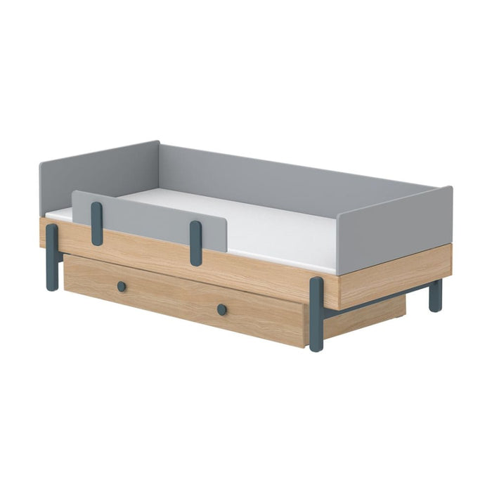 Popsicle - Daybed, single size with Safety rail and Underbed drawer - Oak/Blueberry - Kids Furniture | Flexa USA