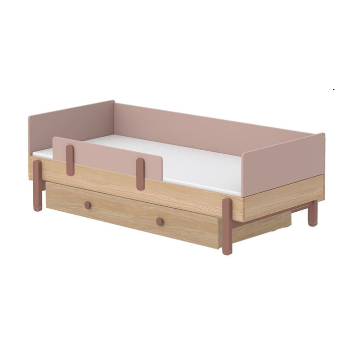 Popsicle - Daybed, single size with Safety rail and Underbed drawer - Oak/Cherry - Kids Furniture | Flexa USA