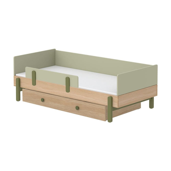 Popsicle - Daybed, single size with Safety rail and Underbed drawer - Oak/Kiwi - Kids Furniture | Flexa USA