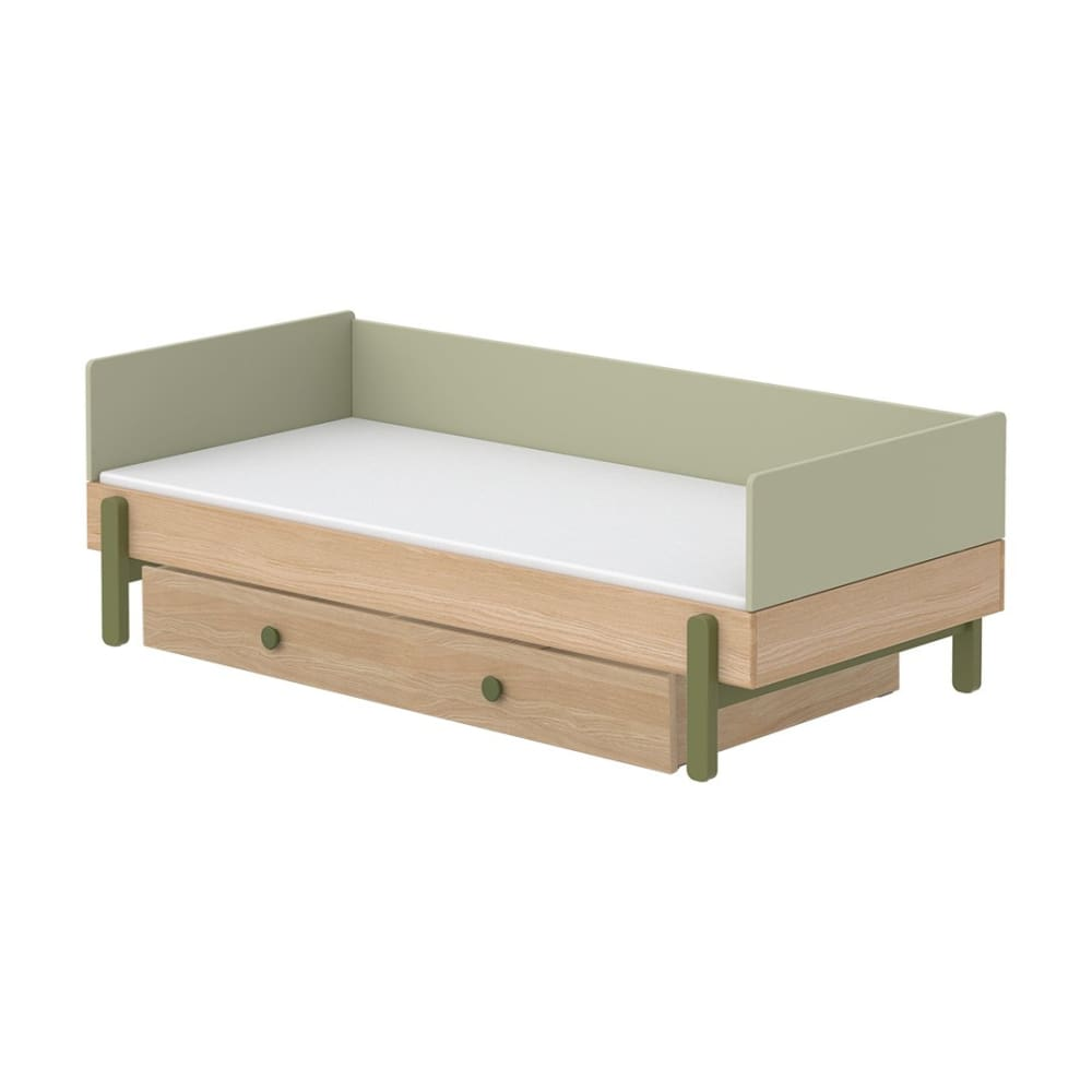 Popsicle - Daybed, single size with Underbed drawer - Oak/Kiwi - Kids Furniture | Flexa USA