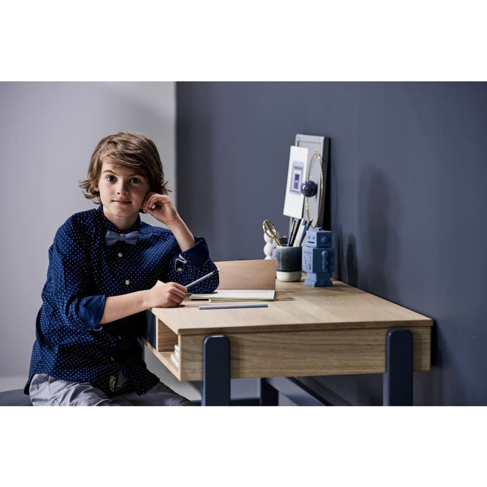 Popsicle - Desk with Two Drawers - Oak/Blueberry - Kids Furniture | Flexa USA
