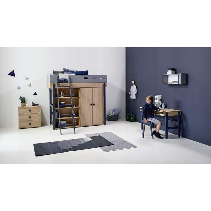 Popsicle - High bed with slanting ladder - Oak/Blueberry - Kids Furniture | Flexa USA