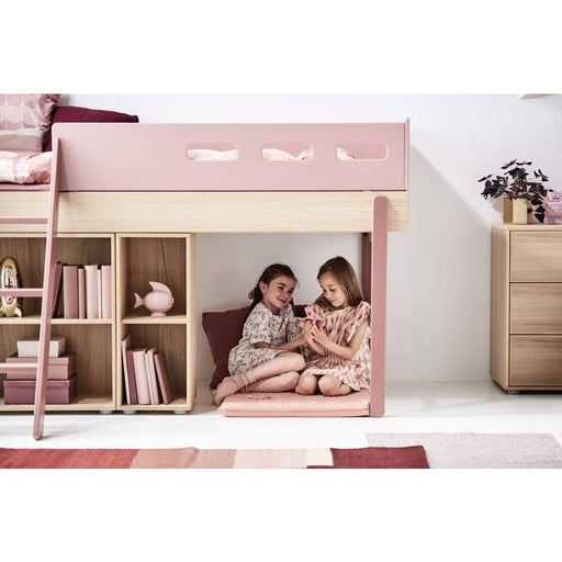 Popsicle - High bed with slanting ladder - Oak/Cherry - High bed