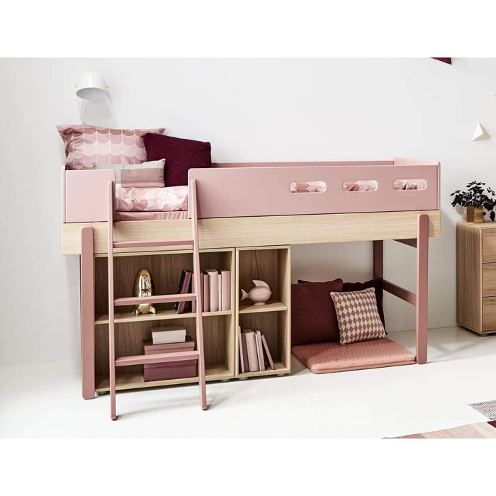 Popsicle - High bed with slanting ladder - Oak/Cherry - Kids Furniture | Flexa USA