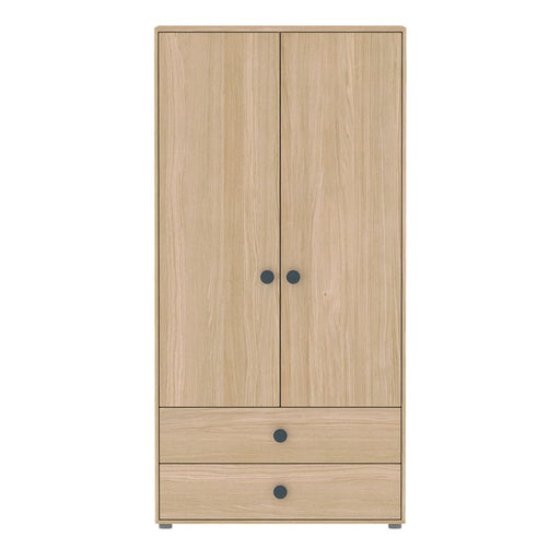 Popsicle - High wardrobe with 2 doors 2 drawers 4 shelves and 1 hanger - Oak/Blueberry - Storage