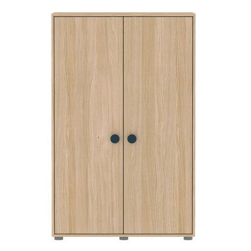 Popsicle - Low wardrobe with 2 doors 4 shelves and 1 hanger - Oak/Blueberry - Storage