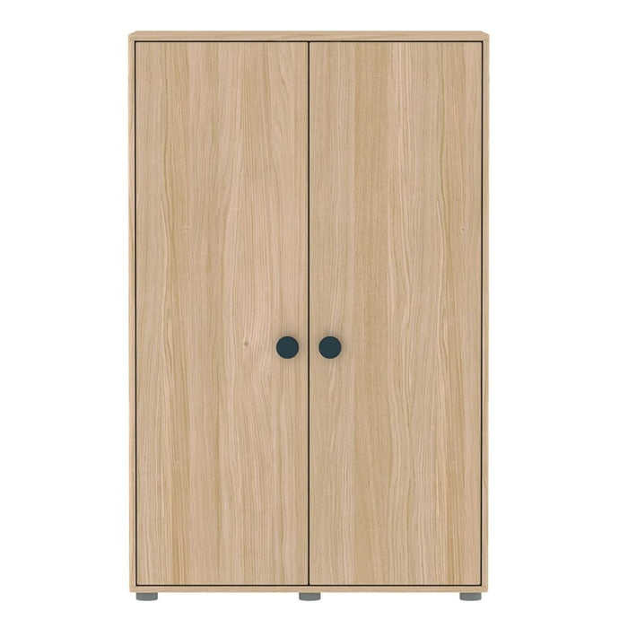 Popsicle - Low wardrobe with 2 doors, 4 shelves and 1 hanger - Oak/Blueberry - Kids Furniture | Flexa USA
