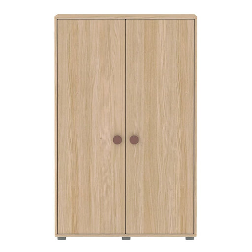 Popsicle - Low wardrobe with 2 doors 4 shelves and 1 hanger - Oak/Cherry - Storage