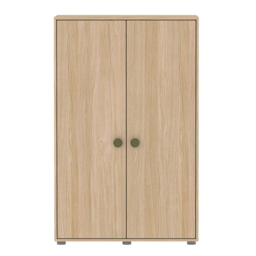 Popsicle - Low wardrobe with 2 doors 4 shelves and 1 hanger - Oak/Kiwi - Storage