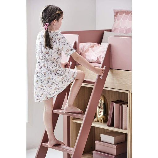 Popsicle - Mid-high bed with slanting ladder - Oak/Kiwi - Mid-high bed