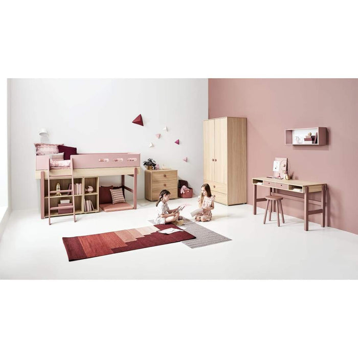Popsicle - Mid-high bed with slanting ladder - Oak/Kiwi - Kids Furniture | Flexa USA