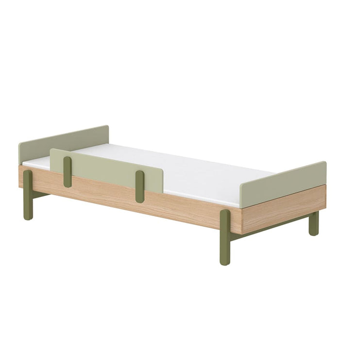 Popsicle - Single bed with Safety rail - Oak/Kiwi - Kids Furniture | Flexa USA