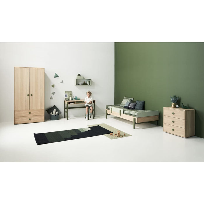 Popsicle - Single bed with Underbed drawer and Safety rail - Oak/Kiwi - Kids Furniture | Flexa USA