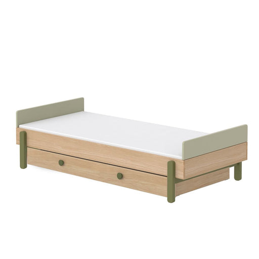 Popsicle - Single bed with Underbed drawer - Oak/Kiwi - Kids Furniture | Flexa USA