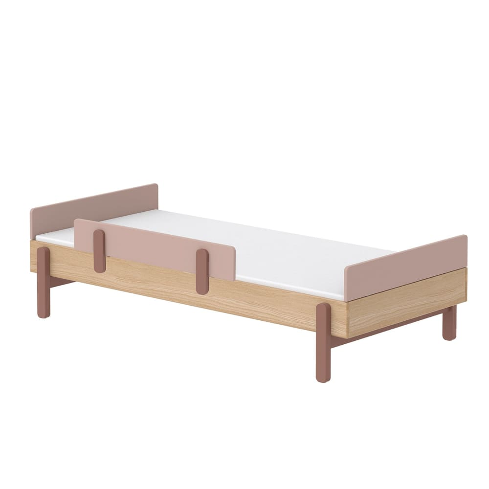Popsicle - Single bed with Safety rail - Oak/Cherry - Kids Furniture | Flexa USA