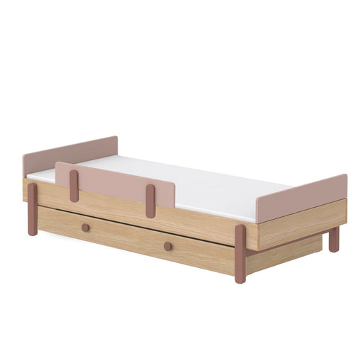 Popsicle - Single bed with drawer and Safety rail - Oak/Cherry - Kids Furniture | Flexa USA