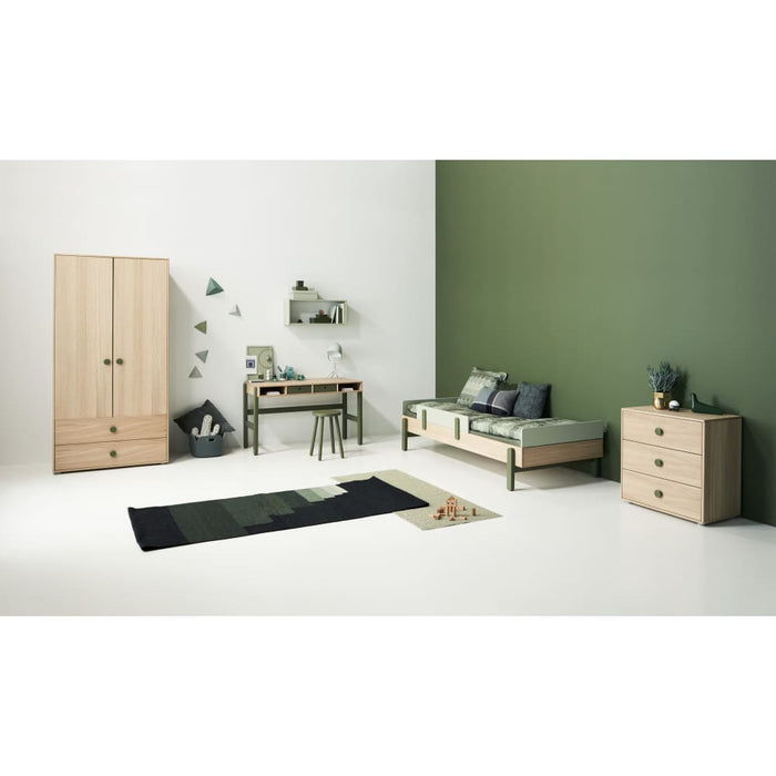 Popsicle - Single bed with low head-board and low end rail - Oak/Blueberry - Kids Furniture | Flexa USA