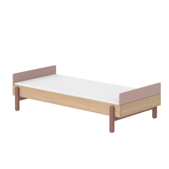 Popsicle - Single bed with low head-board and low end rail - Oak/Cherry - Kids Furniture | Flexa USA