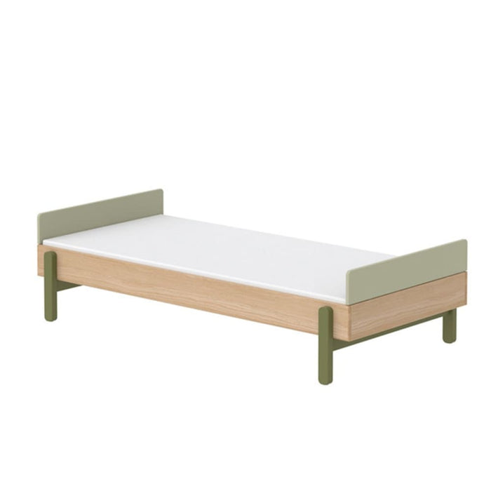 Popsicle - Single bed with low head-board and low end rail - Oak/Kiwi - Kids Furniture | Flexa USA