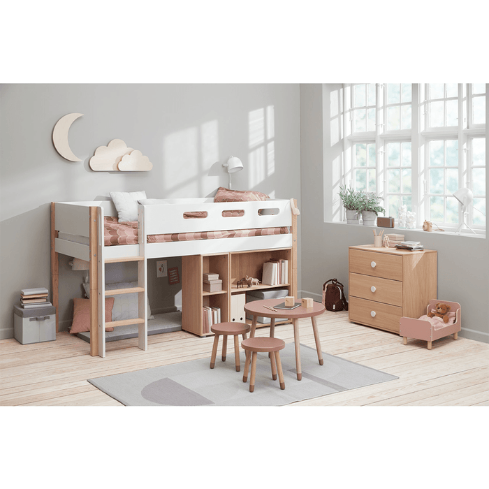 Nor - Mid-high Bed with Straight Ladder and Safety Rail - Oak/White - Kids Furniture | Flexa USA