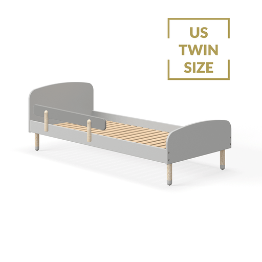 DOTS - US Twin Single bed with Safety Rail - Urban grey - Kids Furniture | Flexa USA