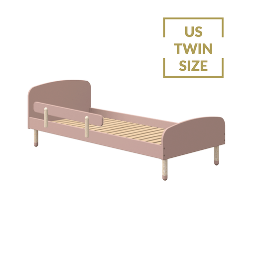 Play - US Twin Single bed with Safety Rail - Light Rose - Kids Furniture | Flexa USA