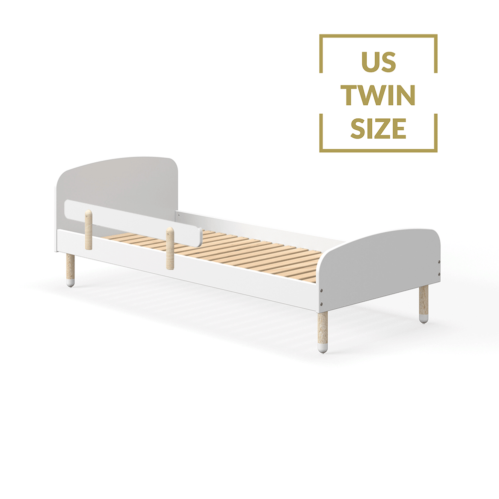 DOTS - US Twin Single bed with Safety Rail - White - Kids Furniture | Flexa USA