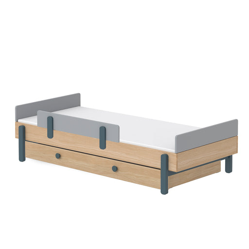 Popsicle - Single bed with Underbed drawer and Safety rail - Oak/Blueberry - Kids Furniture | Flexa USA