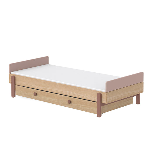 Popsicle - Single bed with Underbed drawer - Oak/Cherry - Kids Furniture | Flexa USA